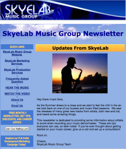music production services newsletter